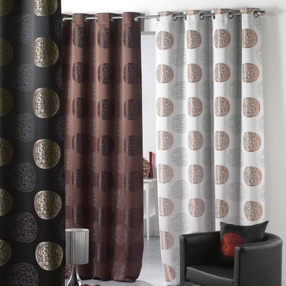 rideau oeillets sphere noir et taupe rideau voilage store eminza. Black Bedroom Furniture Sets. Home Design Ideas