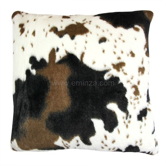 Coussin imitation fourrure d�houssable Vache