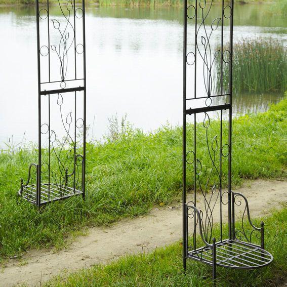 Arche justine style fer forg gris blanchi eminza for Arche de jardin fer forge