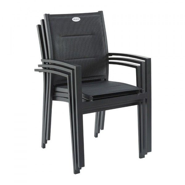 fauteuil de jardin azua noir salon de jardin table et chaise eminza. Black Bedroom Furniture Sets. Home Design Ideas