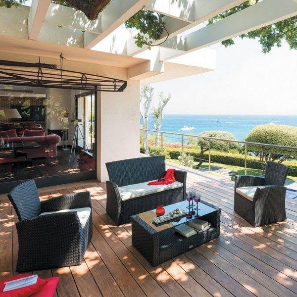 salon de jardin bora bora noir 4 places salon de jardin eminza. Black Bedroom Furniture Sets. Home Design Ideas