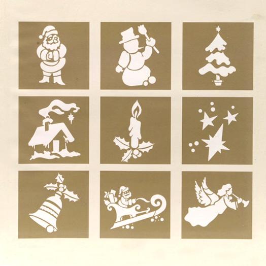 Set di 9 stensil decori di natale decorazione per - Decori natalizi per finestre ...
