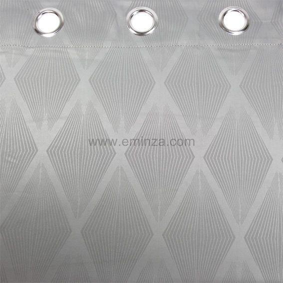 rideau oeillets occultant losange gris. Black Bedroom Furniture Sets. Home Design Ideas