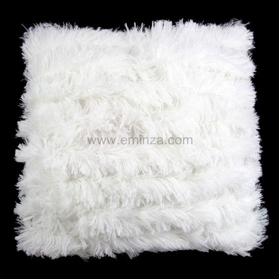 Coussin Poil long Blanc