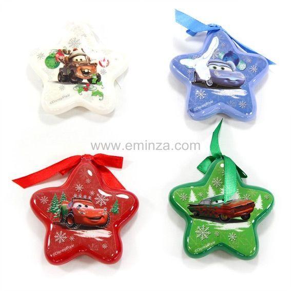 Lot de 4 toiles de no l disney cars multicouleur boule et d co de sapin eminza - Decoration de noel disney ...