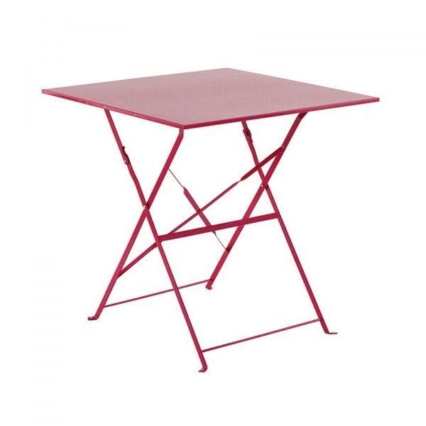 table de jardin pliante m tal camargue 70 x 70 cm framboise salon de jardin table et. Black Bedroom Furniture Sets. Home Design Ideas