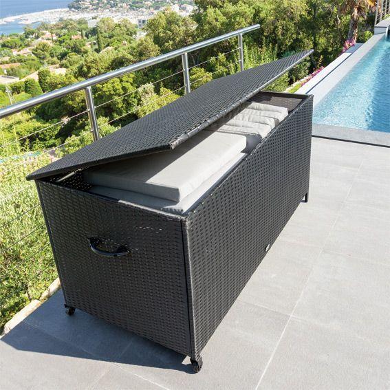 coffre de rangement bayana noir petit mobilier de jardin eminza. Black Bedroom Furniture Sets. Home Design Ideas