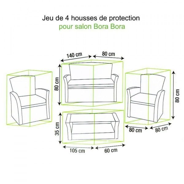 jeu de housses protection pour salon bora bora textile d. Black Bedroom Furniture Sets. Home Design Ideas