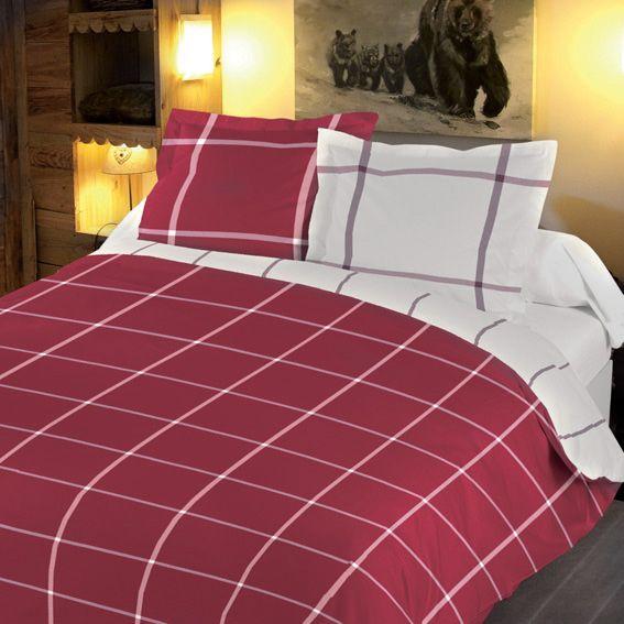 housse de couette et deux taies 260 cm carreaux rouge linge de lit eminza. Black Bedroom Furniture Sets. Home Design Ideas