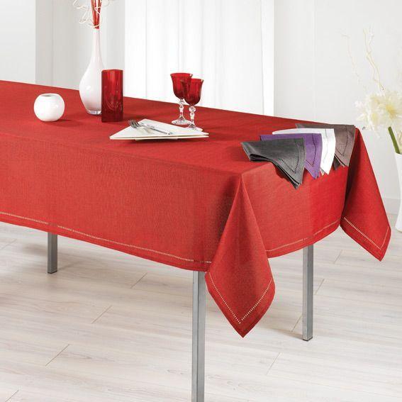 Nappe rectangulaire l240 cm elegance rouge linge de - Nappe de table rectangulaire ...