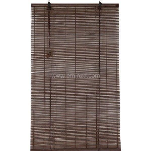 store enrouleur baguettes 40 x h180 cm bambou chocolat rideau voilage store eminza. Black Bedroom Furniture Sets. Home Design Ideas