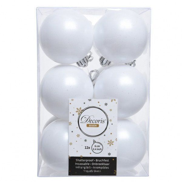 Lot de 12 boules de Noël (D60 mm) Alpine Blanc