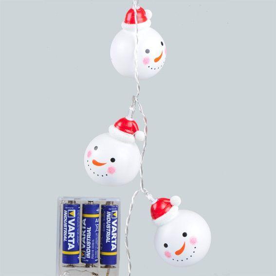 Guirlande lumineuse Bonhommes de Neige LED Blanc froid