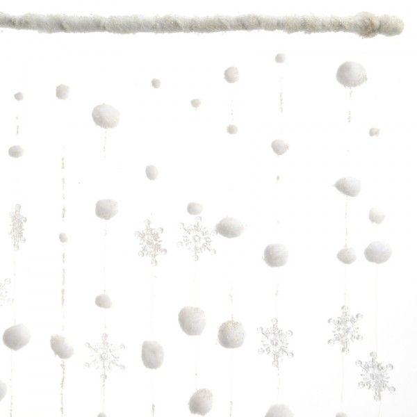 rideau de no l de fen tre flocons et boules de neige d coration de fen tre eminza. Black Bedroom Furniture Sets. Home Design Ideas
