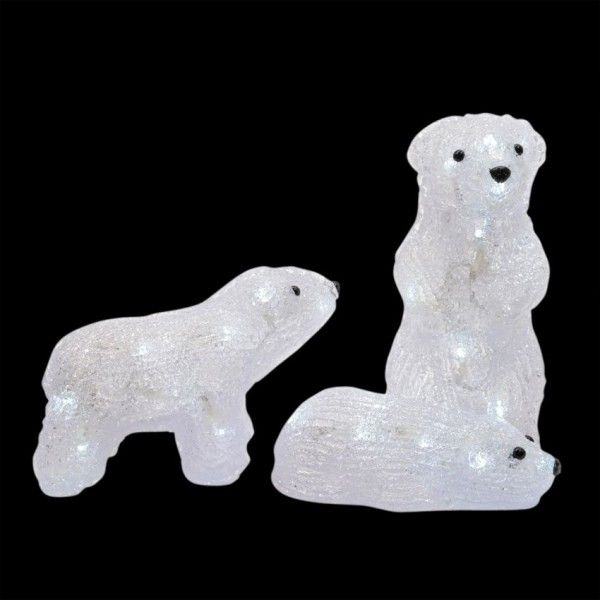 Famille d'ours lumineux Arctique Blanc froid 40 LED