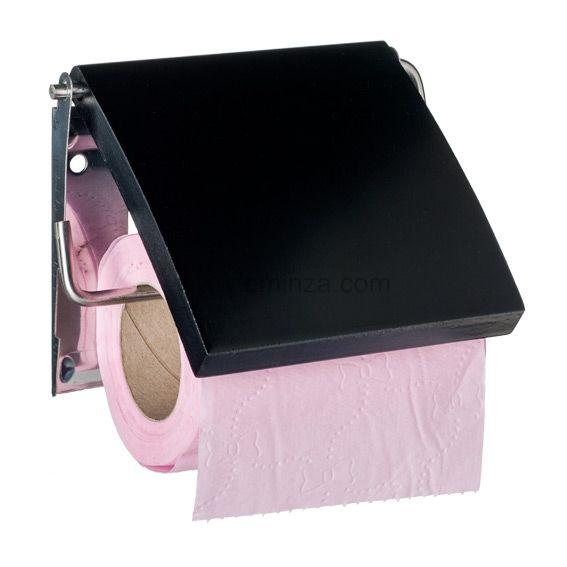 Porte papier toilettes uni noir accessoire wc eminza - Porte papier toilette noir ...
