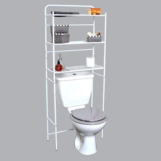 Meuble Wc Bois: Meuble Dessus WC Métal Blanc