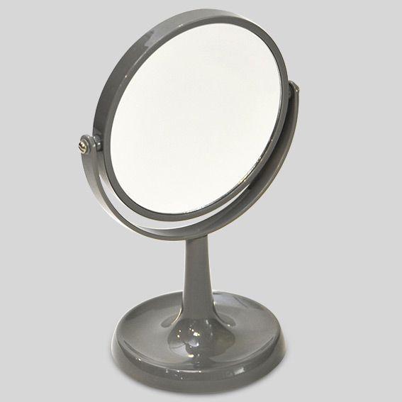Miroir double face grossissant sur pied gris accessoire salle de bain eminza - Accessoire salle de bain gris ...