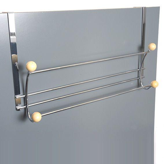 Porte serviette patere 4 crochets chrome bois - Porte serviette a suspendre ...