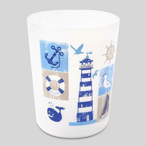 poubelle marin bleu accessoire salle de bain eminza. Black Bedroom Furniture Sets. Home Design Ideas