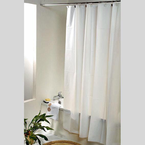 rideau de douche plastique uni blanc rideau de douche eminza. Black Bedroom Furniture Sets. Home Design Ideas