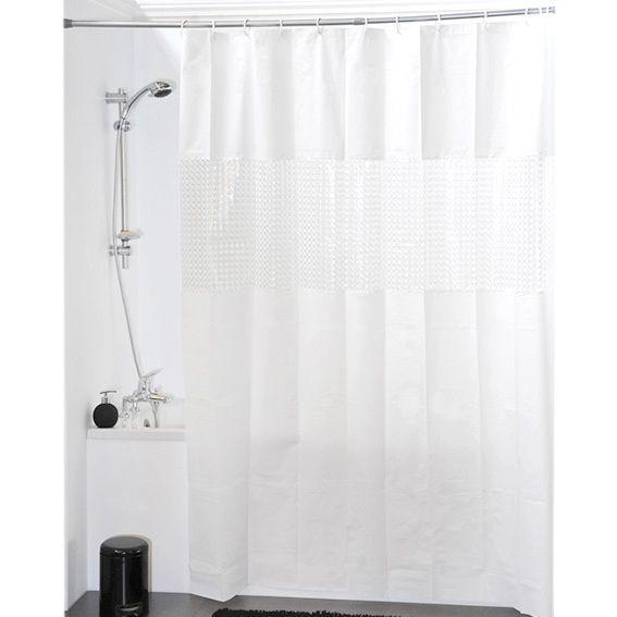 rideau de douche laser blanc accessoire douche baignoire eminza. Black Bedroom Furniture Sets. Home Design Ideas