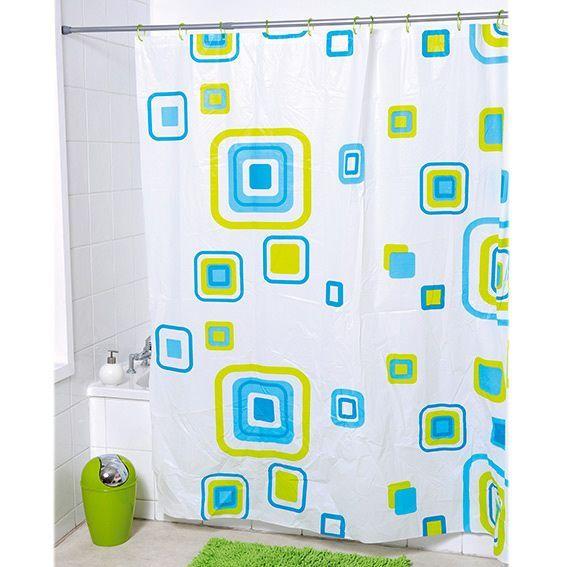 Rideau de douche graphique bleu accessoire douche baignoire eminza for Rideau graphique