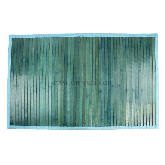 tapis de bain lattes bambou bleu tapis eminza. Black Bedroom Furniture Sets. Home Design Ideas