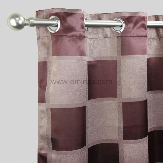 rideau oeillets occultant carreaux chocolat et praline eminza. Black Bedroom Furniture Sets. Home Design Ideas