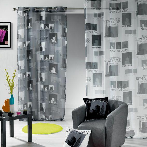 voilage oeillets urban pop gris et blanc rideau. Black Bedroom Furniture Sets. Home Design Ideas
