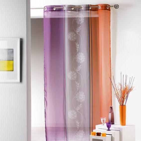 voilage oeillets baltique prune orange eminza. Black Bedroom Furniture Sets. Home Design Ideas
