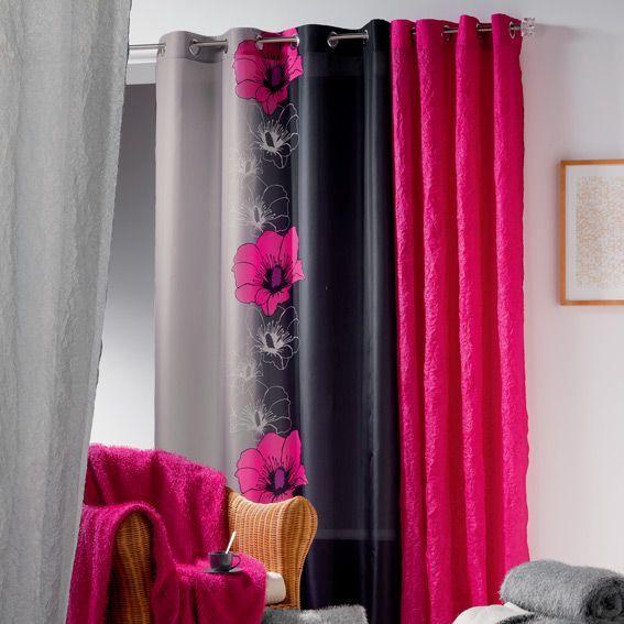 rideau 140 x h240 cm maeva fuchsia eminza. Black Bedroom Furniture Sets. Home Design Ideas