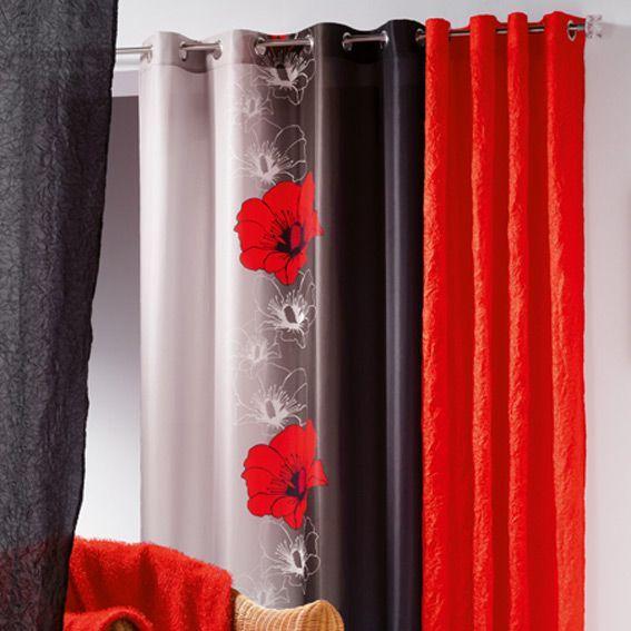 rideau 140 x h240 cm maeva rouge rideau tamisant eminza. Black Bedroom Furniture Sets. Home Design Ideas