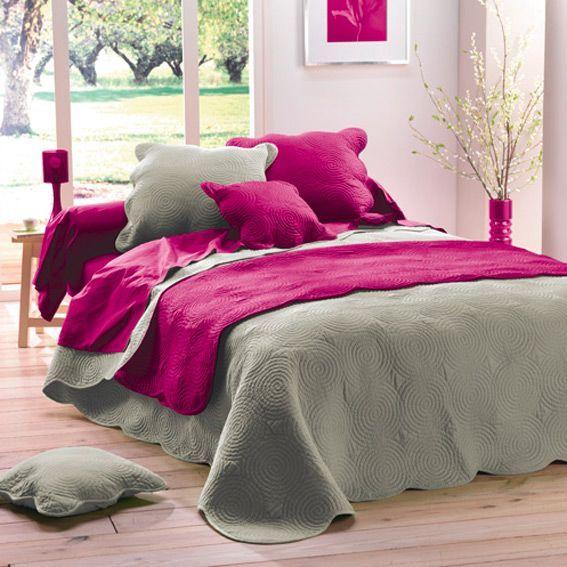 couvre lit matelass boutis lin eminza. Black Bedroom Furniture Sets. Home Design Ideas