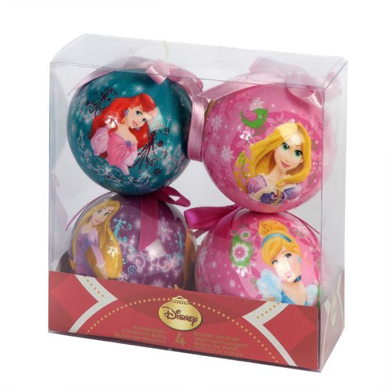 Lot de 4 boules de No�l Disney princesses Multicolore