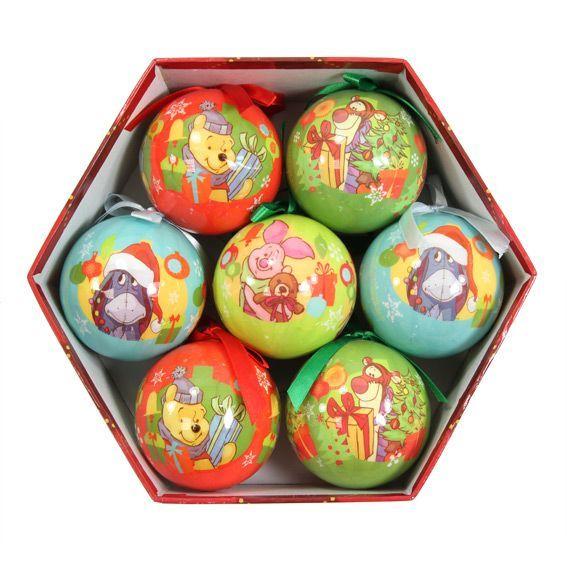 Lot de 7 boules de No�l Disney Winnie l'ourson Multicolore