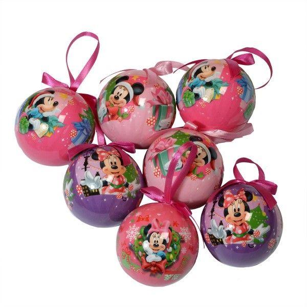 Coffret de 7 boules de no l disney minnie boule et d co de sapin eminza - Decoration de noel disney ...