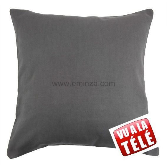 Lot de 2 housses de coussin (60 cm) Contemporaine Anthracite