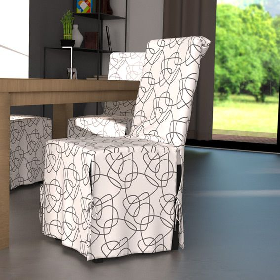 housse de chaise graphique blanc. Black Bedroom Furniture Sets. Home Design Ideas