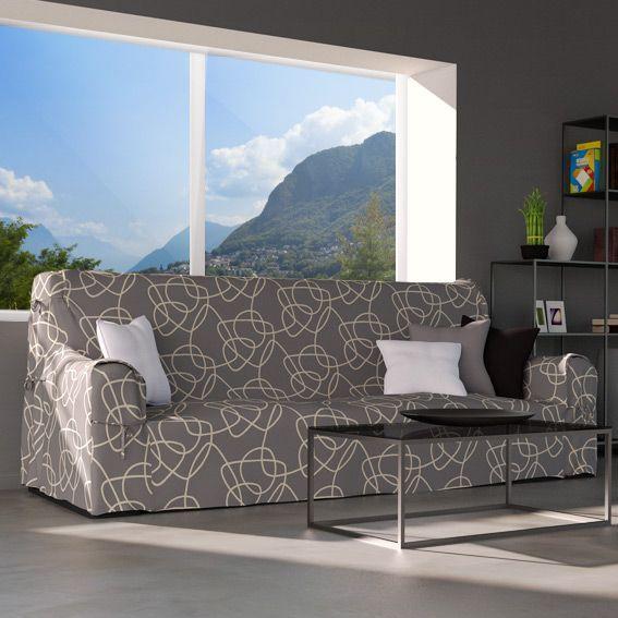 housse de canap graphique gris clair et blanc eminza. Black Bedroom Furniture Sets. Home Design Ideas