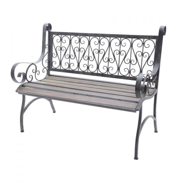 banc de jardin phil fer forg et bois brun banc de jardin eminza. Black Bedroom Furniture Sets. Home Design Ideas