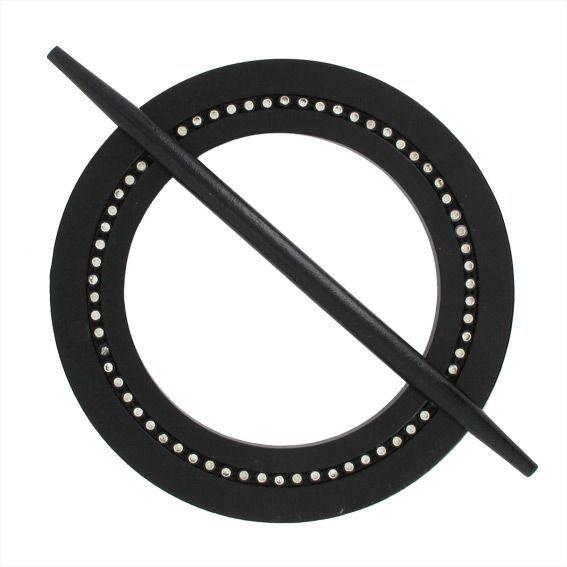 embrasse bois ronde avec strass noir. Black Bedroom Furniture Sets. Home Design Ideas