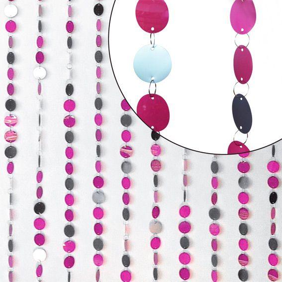 rideau de porte disques fuchsia framboise et gris eminza. Black Bedroom Furniture Sets. Home Design Ideas