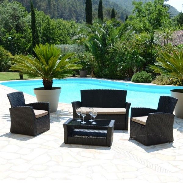 salon de jardin ibiza noir taupe 4 places salon de jardin eminza. Black Bedroom Furniture Sets. Home Design Ideas