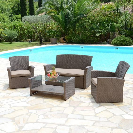 salon de jardin ibiza taupe 4 places salon de jardin table et chaise eminza. Black Bedroom Furniture Sets. Home Design Ideas