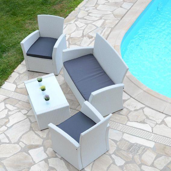 Salon de jardin Ibiza Blanc/Anthracite - 4 places