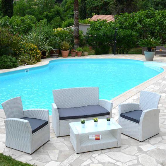 salon de jardin ibiza blanc anthracite 4 places salon de jardin table et chaise eminza. Black Bedroom Furniture Sets. Home Design Ideas