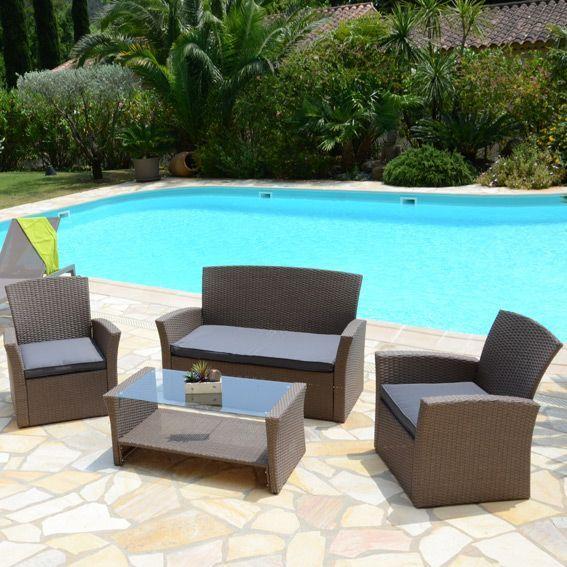 salon de jardin ibiza taupe et gris 4 places salon de jardin table et chaise eminza. Black Bedroom Furniture Sets. Home Design Ideas