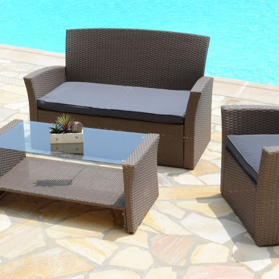 salon de jardin ibiza taupe et gris 4 places salon de jardin eminza. Black Bedroom Furniture Sets. Home Design Ideas