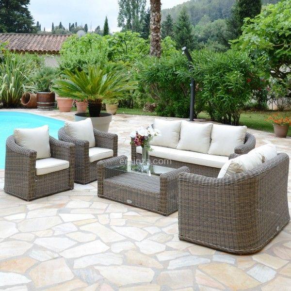 salon de jardin capri sepia ecru 7 places salon de jardin eminza. Black Bedroom Furniture Sets. Home Design Ideas